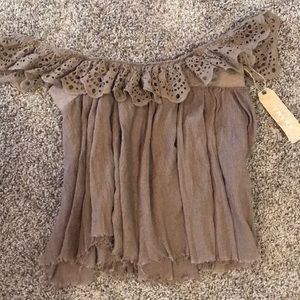 Brown off the shoulder lace tunic top